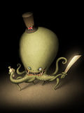 Evil octopus gentleman. Its funny octopus-pirate, has got into the habit of drinking whisky Royalty Free Stock Photos