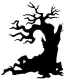 Evil old tree. Halloween creepy old tree isolated on the white background Stock Photos
