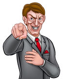 Evil Pointing Businessman. Evil looking businessman in a suit and tie pointing his finger in a needs you gesture Royalty Free Stock Images