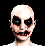 Evil Psychotic Female Clown. A totally evil psychotic female clown for Halloween Stock Image