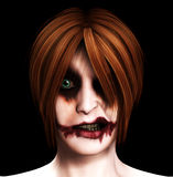 Evil Psychotic Women. Close up image of a psychotic female clown Stock Image
