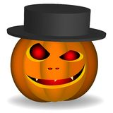 An evil pumpkin with a hat on a white background royalty free illustration