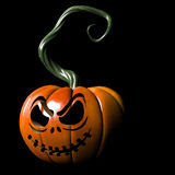 Evil Pumpkin. Crazy expressions and characters carved on a Halloween pumpkin Royalty Free Stock Images