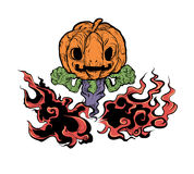 Evil Pumpkin in dark fire Stock Photography