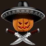 Evil pumpkin for Halloween in a sombrero with knives Stock Image