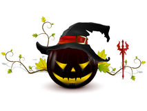 Evil pumpkin with hat Royalty Free Stock Photography