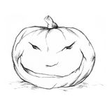 Evil pumpkin. Illustration of a pumpkin with a furious face Stock Photos
