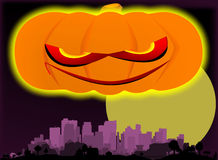 Evil Pumpkin Over The City. Royalty Free Stock Photos