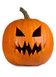 Evil pumpkin on white Royalty Free Stock Photo