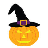 Evil pumpkin witch hat for Halloween Royalty Free Stock Photos