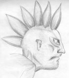 Evil punk - sketch. Pencil drawing of an evil punk with crazy hair Stock Photography