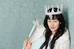 Evil queen with wand and ice crown. Portrait of an evil queen with wand and ice crown royalty free stock images