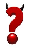 Evil question mark. Question mark with horns on white background - 3d illustration Royalty Free Stock Photography