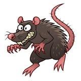 Evil rat. Cartoon malicious rat on the white background Stock Photo