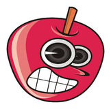 Evil red apple. On a white background vector illustration