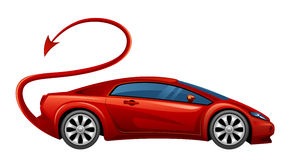 Evil car. Evil red car on a white background Royalty Free Stock Photo