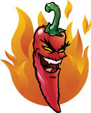 Evil red chili pepper. Cartoon illustration of an evil looking red hot chili pepper Stock Image