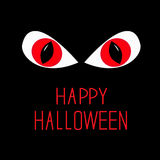 Evil Red eyes in dark night. Happy Halloween card. Stock Photography