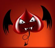 Evil red heart. With black wings Stock Photography