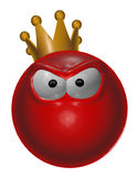 Evil red king smiley - 3d illustration. Angry red smiley with crown - 3d illustration Stock Image