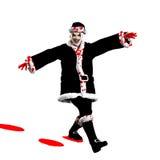 Evil Santa Claus. Clown skipping through the snow Royalty Free Stock Photos