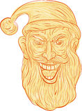 Evil Santa Claus Head Drawing. Drawing sketch style illustration of an evil looking, sinister and devilish santa claus with a wide grin viewed from front set on Royalty Free Stock Photography