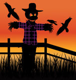 Evil Scarecrow. Scarecrow awaits halloween night to scare Royalty Free Stock Photography