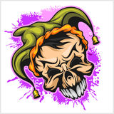 Evil scary clown. Halloween monster, joker character. Vector illustration. On grunge background Stock Photos