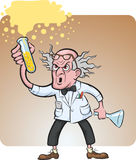 Evil scientist making chemical experiment royalty free illustration