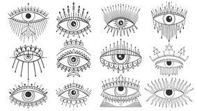 Evil Seeing eye symbol set. Occult mystic emblem, graphic design tattoo. Esoteric sign alchemy, decorative style, providence sight. Vector illustration stock illustration