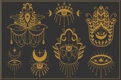 Evil Seeing eye symbol set. Occult mystic hamsa emblem, graphic design tattoo. Esoteric sign alchemy, decorative style, providence. Sight. Vector illustration stock illustration