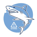 Evil shark warning sign Royalty Free Stock Photo