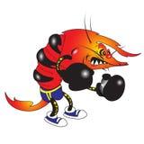 Evil shrimp. Vector illustration of evil shrimp boxer cartoon character Royalty Free Stock Image