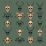 10 Evil Skull Collection. Color version and black only Royalty Free Stock Photo