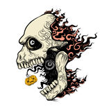 Evil skull in fire. Hand draw vector cartoon illustration Royalty Free Stock Images