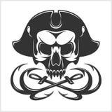 Evil skull vector. Dark t-shirt design. Pirate insignia concept. Stock Photos