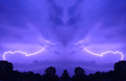 Purple sky with lightning stock image