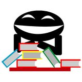 Evil smile and the books ilustration. Evil smile and the books on the table ilustration vector Royalty Free Stock Photos