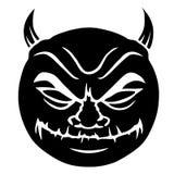 Evil smiley in black. Cartoon illustration of a devilish, evil smiley face in black Royalty Free Stock Photography