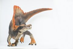 Evil spinosaurus on white background waiting for attack. Evil spinosaurus on white background ready to attack Stock Photo