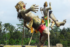 Evil spirit figure made for New Year carnival on Bali royalty free stock photos
