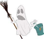 Evil spirits broom. And garbage can halloween holiday Royalty Free Stock Photos