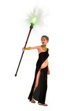 Evil stepmother. Fairy tale evil stepmother with sagging flesh brandishing magical staff Royalty Free Stock Photos