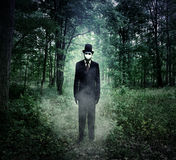 Evil Tall Man Standing in Scary Woods Alone Stock Photos
