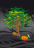 Evil tree. Dark background with evil tree and lantern pumpkins Stock Images