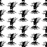 Evil tree halloween pattern. On the white background. Vector illustration Royalty Free Stock Photography