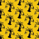 Evil tree halloween pattern. On the yellow background. Vector illustration Stock Photography