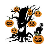 Evil tree and pumpkin. On the white background. Vector illustration Royalty Free Stock Images