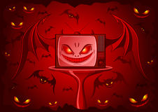 Evil TV. Red Evil TV - real face of our television. Additional vector format in EPS (v.8 Royalty Free Stock Photo