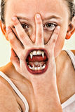 Evil Vampire Alien Child Close Up Stock Image